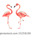 flamingo, watercolor, pink 33258106