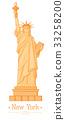 Statue of Liberty Cartoon  Flat Design Style 33258200