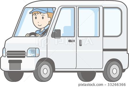 一個人駕駛一輛微型汽車搬運車的例證 33266366