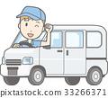 乘坐微型汽車搬運車的一個人擺在的例證 33266371