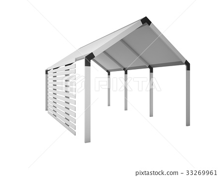 Gazebo, Canopy house isolated on white, 3d rendering illustratio 33269961