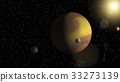 Large gas giant planet with two moons  33273139