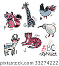 fox, giraffe, alphabet 33274222