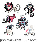 lion, octopus, alphabet 33274224