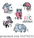 Crocodile, bear, alphabet 33274233