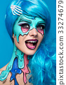 Fashionable zombie girl. Portrait of a pin-up 33274679