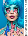 Fashionable zombie girl. Portrait of a pin-up 33274680