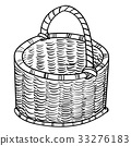 Hand drawing Wicker baskets-Vector simple line 33276183