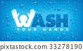 wash your hands-blue background  33278190
