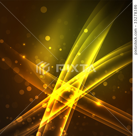 Energy lines, glowing waves in the dark, vector - Stock