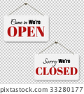 Open And Closed Signs Set Transparent Background 33280177