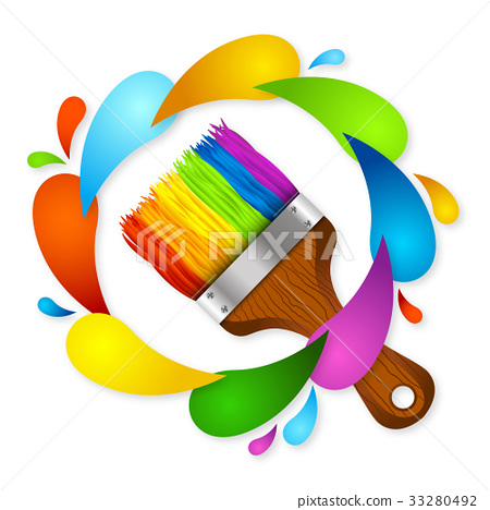 Brush and paint vector 33280492