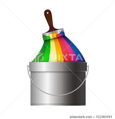 Brush with paint and bucket 33280493