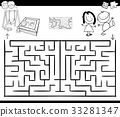 maze activity game with kids and playground 33281347