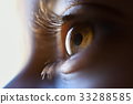 Close-up of beautiful little girl brown eye 33288585