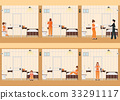 Rows of prison cells with life of women in jail. 33291117