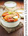 Thai food, River prawn spicy soup  33293075