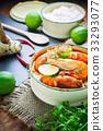 Thai food, River prawn spicy soup  33293077