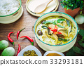 Thai food green curry chicken on wooden background 33293181