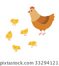 funny hen cartoon with her baby chicken, mother 33294121