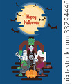 Halloween characters under the moon 33294446