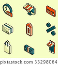 Shopping color outline isometric icons 33298064