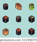 Sushi flat outline isomeric icons 33298070
