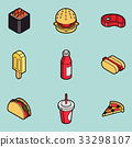 Fast food outline color isometric icons 33298107