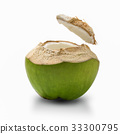 Thai coconut open top on white background. 33300795
