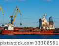 Red cargo ship loading 33308591