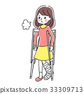 Woman with broken crutches 33309713