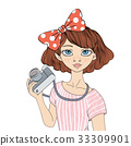 Young girl with photo camera. Vector portrait 33309901