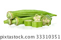 Young okra isolated on the white background 33310351