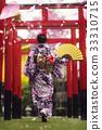 Japan lady in kimono walk in the temple 33310715
