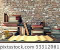 Old paper and ancient books on study table  33312061