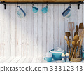 Kitchen utensils on white wood background  33312343