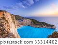Shipwreck beach at sunset on Zakynthos, Greece 33314402