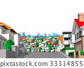 建立遥远的看法白色后面的镇住宅区小山 33314855