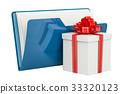 Blue computer folder icon with gift, 3D rendering 33320123