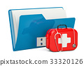 Computer folder icon with USB flash drive 33320126