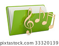 Green music computer folder with note symbols 33320139