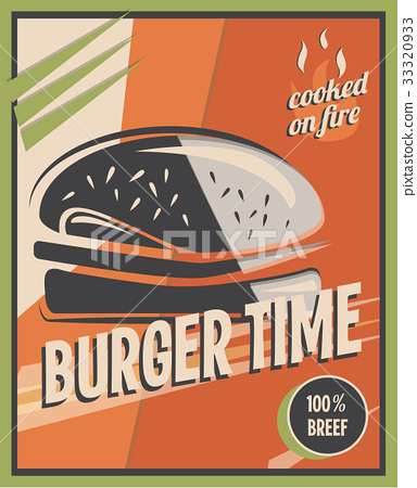 Retro poster with burger with beef meat 33320933