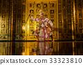 Khon, pantomime performances action of Thailand, a kind of Thai drama at Ayutthaya temple, Hanuman monkey, performing action concept 33323810