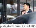 a portrait of businessman holding bag near car 33324105