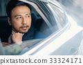 The portrait of a businessman sitting in the car and looking outside 33324171