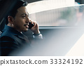 The portrait of man sitting in his car and talking on phone 33324192
