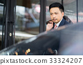 The picture of a businessman getting off the car 33324207
