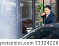 A portrait of young businessman closing a car door while looking at something. 33324228