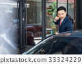 A businessman is carrying his bag over his shoulder and looking at the car. 33324229