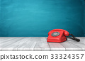 3d rendering of a bright red dial phone standing 33324357